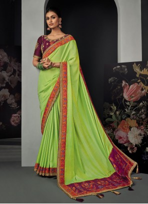 Green Patch Border Classic Designer Saree
