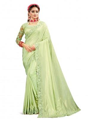 Green Patch Border Crepe Silk Designer Saree