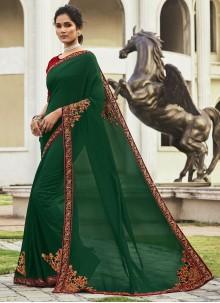 Green Patch Border Chanderi Designer Saree