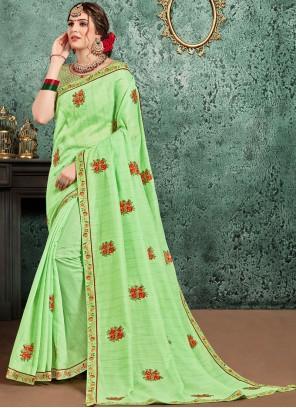 Green Patch Border Designer Traditional Saree