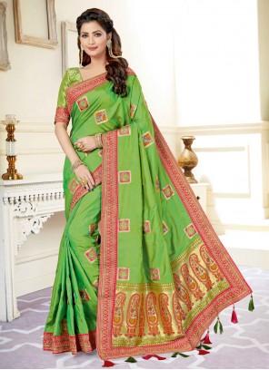 Green Patch Border Engagement Traditional Designer Saree