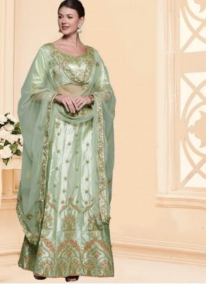 Green Patch Border Silk A Line Lehenga Choli