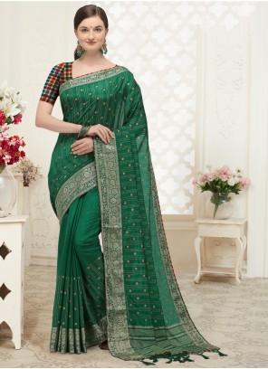 Green Patch Border Silk Traditional Designer Saree