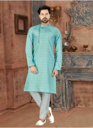 Green Plain Art Silk Kurta Pyjama