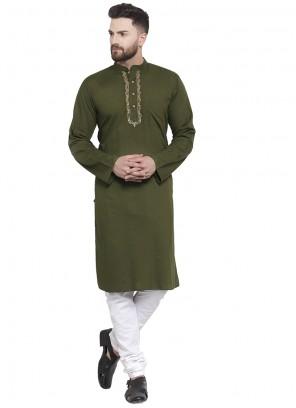 Green Plain Cotton Kurta Pyjama