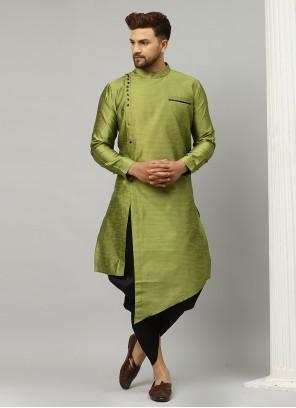 Green Plain Dupion Silk Indo Western
