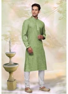 Green Plain Engagement Kurta Pyjama