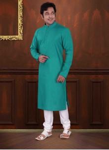 Green Plain Mehndi Kurta Pyjama