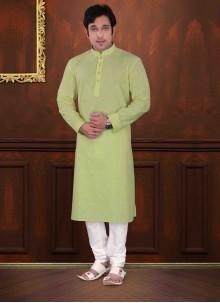 Pista Green Plain Mehndi Kurta Pyjama
