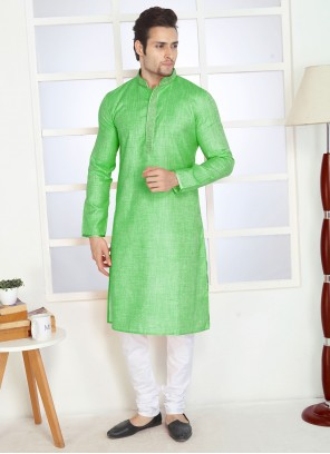Green Poly Cotton Kurta Pyjama