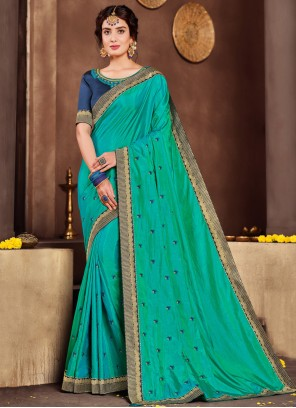 Green Poly Silk Classic Designer Saree