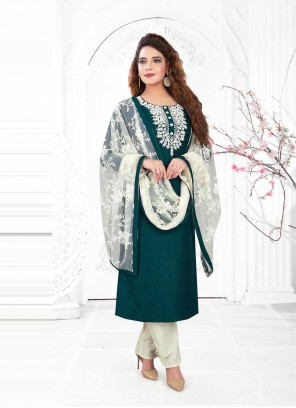 Green Poly Silk Embroidered Readymade Suit