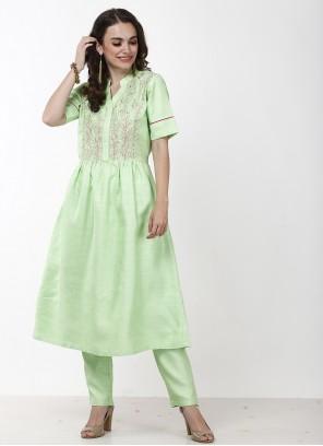 Green Polyester Sangeet Anarkali Salwar Kameez