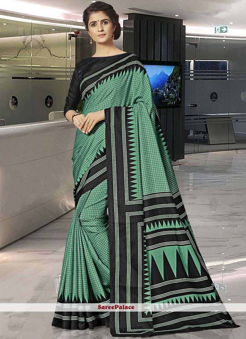 Green Print Art Silk Traditional Saree