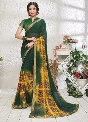 Green Print Designer Saree