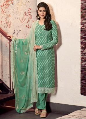 Green Print Faux Crepe Designer Straight Suit