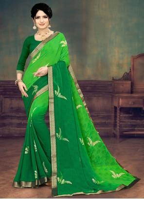 Green Print Festival Shaded Saree