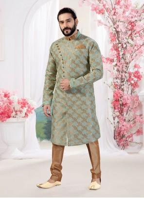 Green Print Jacquard Indo Western