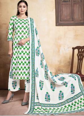 Green Print Rayon Designer Straight Suit