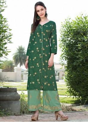 Green Print Rayon Party Wear Kurti