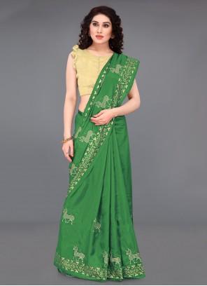 Green Print Silk Casual Saree