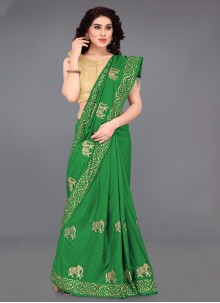 Green Silk Printed Saree