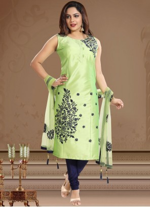 Green Print Tafeta Silk Churidar Designer Suit