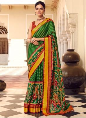 Green Print Traditional Designer Saree