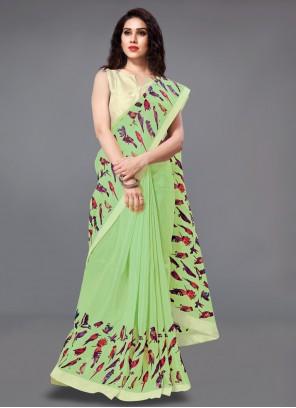 Green Silk Printed Classic Saree