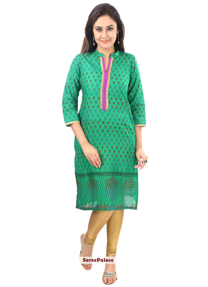 Green Printed Cotton   Casual Kurti