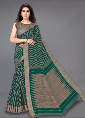 Green Printed Cotton Classic Saree