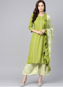 Green Printed Cotton Salwar Suit