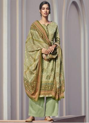 Green Printed Designer Palazzo Suit