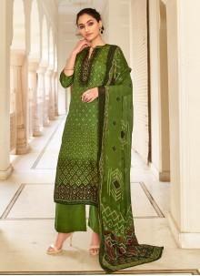Green Printed Fancy Fabric Designer Palazzo Salwar Kameez