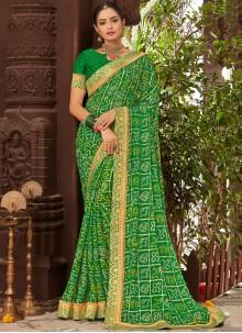 Green Printed Faux Chiffon Traditional Saree