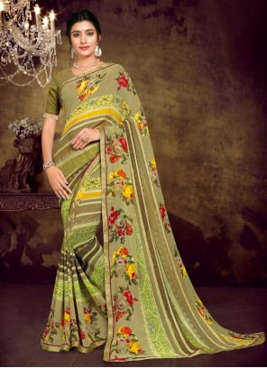 Green Faux Georgette Printed Saree