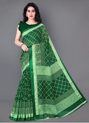 Green Printed Festival Contemporary Saree