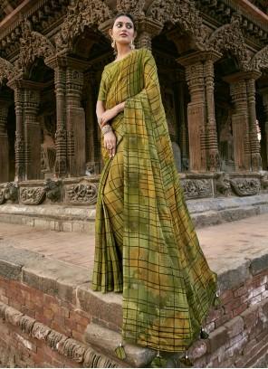 Green Printed Festival Designer Saree