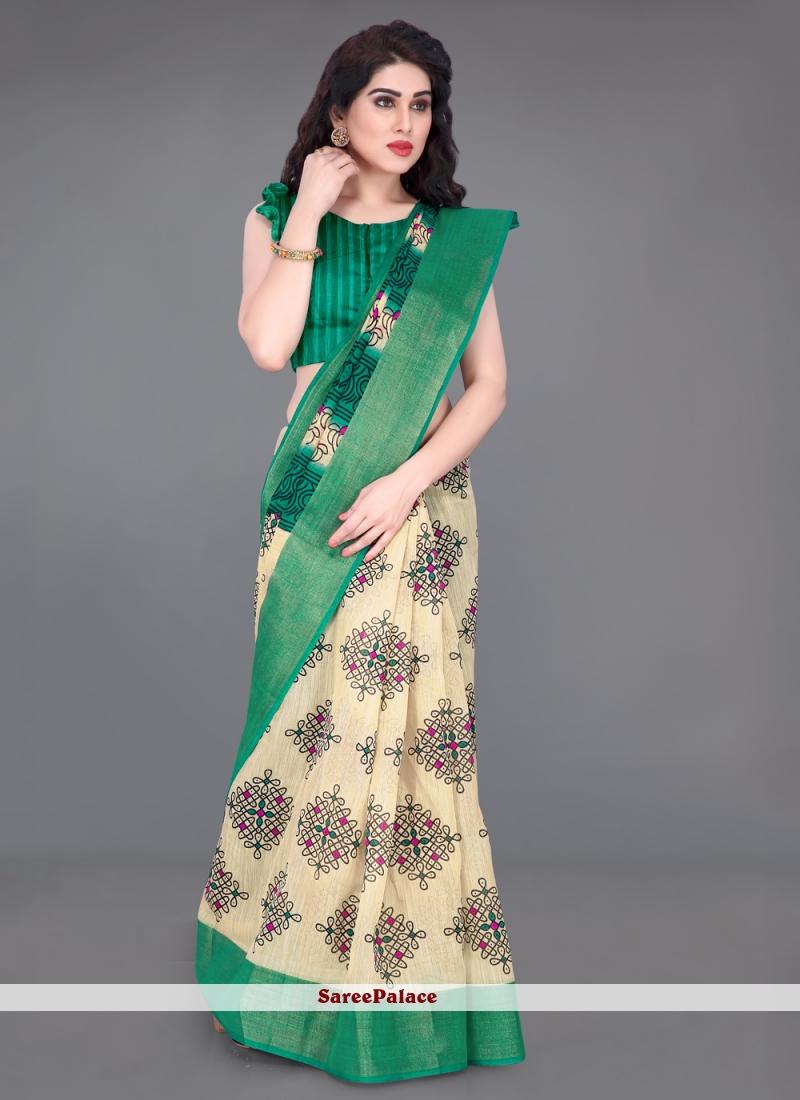 Green Printed Festival Saree