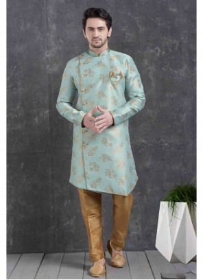Green Printed Jacquard Silk Indo Western