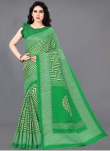 Green Printed Khadi Silk Traditional Saree