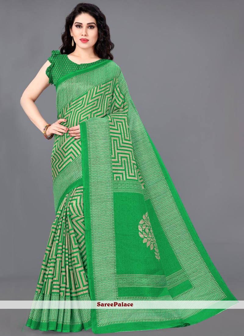 Green Printed Cotton Silk Traditional Saree