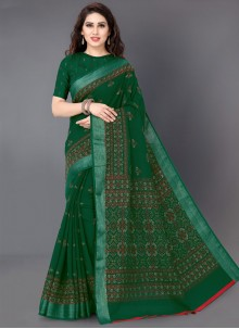 Green Printed Linen Printed Saree