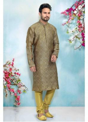 Green Printed Mehndi Kurta Pyjama