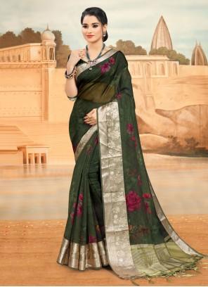 Green Organza Printed Saree