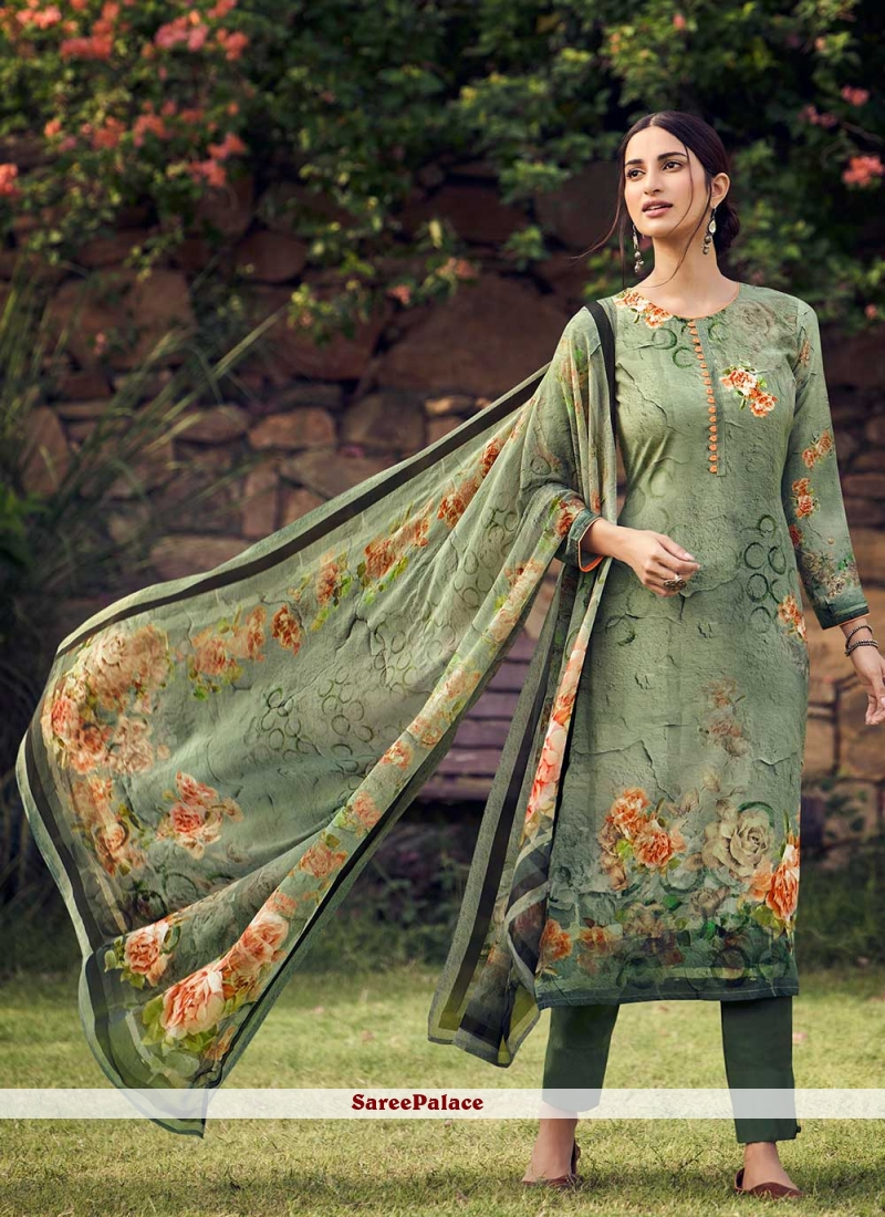Green Printed Palazzo Suit