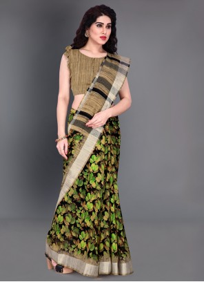 Green Printed Saree