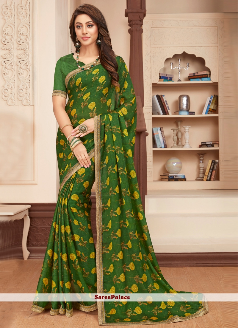 Green Faux Georgette Printed Ceremonial Saree