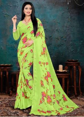 Green Faux Chiffon Printed Saree