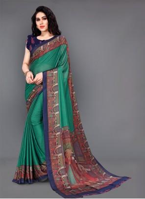 Green Printed Silk Casual Saree